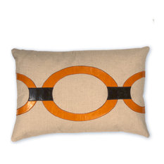Hunter Linen Pillow With Vegan Leather Applique