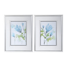 Blue Green Watercolor Flower Print White Floral Silver Frame Art, 2-Piece Set