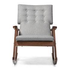 Attrayant Baxton Studio   Agatha Fabric Upholstered Button Tufted Rocking Chair, Gray    Rocking Chairs