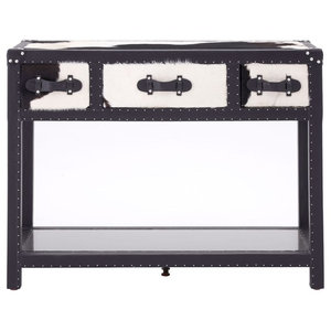 Kensington Townhouse Black and White Cow Hide 3-Drawer Console Table