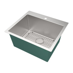 Transolid 25-in x 22-in Dual-Mount Laundry/Utility Sink Kit in Brushed Stainless