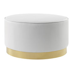 Nicole Miller Jacoby Cocktail Ottoman With Chrome or Gold Trim Base, White Pu/Go