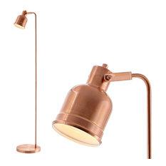 """Brandon 57"""" Metal Task Led Floor Lamp, Copper"""