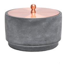 """Sagebrook Home Round Cement/Copper Jar 6"""""""