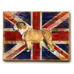 "ArteHouse - ""Union Jack Bulldog"" Wood Sign, 14""x20"", Planked - Artehouse wood signs add a touch of character to any room. Great for the cabin, beach house, winter chalet, kids room, game room, garage, kitchen or any room. Perfect as gifts to visitors or as a memento of places seen and loved. The sign comes ready to put on your wall with a saw tooth hanger. The sign is hand distressed to add to the vintage appeal. The image is printed directly unto the wood in a UV based archival quality ink to ensure fade resistance and last a lifetime."