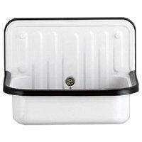 Wall Mounted Service / Utility Sink, White Glazed Steel, Black Trim