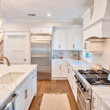 Coastal Kitchen Decor and Gold Hardware