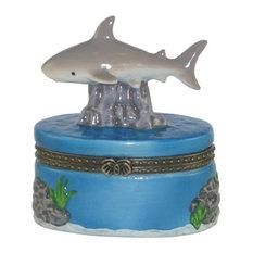 Coastal Gray Shark Porcelain Hinged Trinket Box