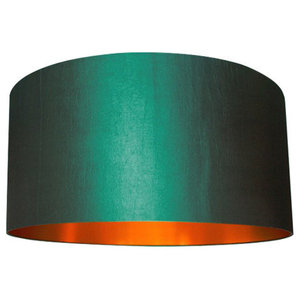 Fabric Lampshade, Peacock and Brushed Copper, 70x30 cm