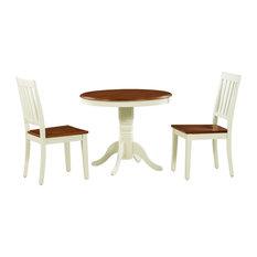 3-Piece Brookline Dinette Dining Room Table Set Buttermilk Cherry Wooden