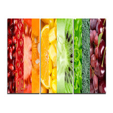 """Fruits, Berries and Vegie Collage"" Art Canvas Print, 3 Panels, 36""x28"""