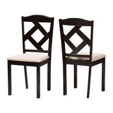Ruth Modern Beige Fabric And Dark Brown Finished Dining Chair Set Of 2