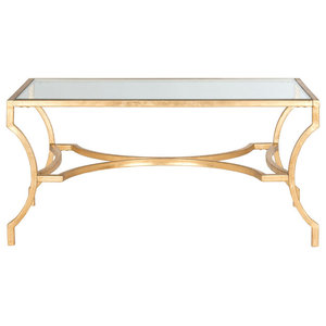 Safavieh Lewis Coffee Table, Gold and Clear Glass