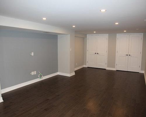 Best modern basement with dark hardwood floors design for Hardwood floors in basement