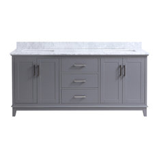 "Everett 72"" Traditional Freestanding Gray Double Bathroom Vanity"