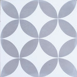 Rustico Tile and Stone - Circulos GW Gray White Cement Tile, Set of 13, 8x8 - This decorative tile pattern from the MeaLu Collection is an encaustic-style cement tile. The colorful pattern is not painted, rather, it is mineral-pigmented cement. Recommended overage for waste, cuts, and borders is 15-20%.  It's a good idea to also allow for one extra box of tile for storage should you ever need to replace a tile.  Cement tile is extremely durable and good for most indoor and outdoor locations when it is properly installed - both residential and commercial. MeaLu Collection cement tiles from Rustico Tile and Stone are unsealed. It's recommended for cement tile to be sealed, coated, waxed or polished for finished protection. Request installation advice before purchasing.  Cement Tile is not difficult to install but it is easy to make errors if the proper installation materials and sealers are not used.  Additionally, the proper process must be followed. Please inquire about any installation questions before installing your tile.  Cement tile is easy to clean, and non-abrasive cleaners are recommended. Avoid harsh chemicals. Concrete Tile is a rustic-handmade tile. It is eco-friendly. Typical characteristics to be expected include slight variation in size and thickness, color variation, small chips, and some color-bleed in the design.