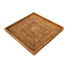 Artifacts Rattan Square Tray, Honey Brown
