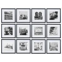 """12 Piece 12""""x12"""" Frame Kit, Matted To 8""""x8"""", Black"""