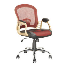 CorLiving Workspace Executive Office Chair in Black Leatherette and Red Mesh