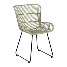 Grey Woven Wicker Dining Chair With Black Metal Legs