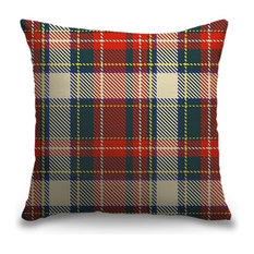 """Red and Green Holiday Tartan Plaid Tweed"" Outdoor Pillow 20""x20"""