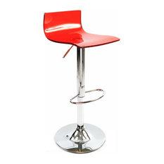 Wye Transparent Acrylic Adjustable Breakfast Bar Stool, Chrome, Red