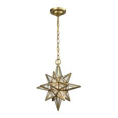 Beamer 1 Light Pendant, Brushed Brass