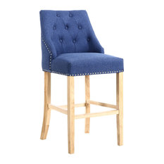 Camden Linen-Effect Buttoned Bar Chair, Sapphire Blue