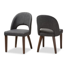 Wesley Walnut Finished Wood Dining Chair, Set of 2, Dark Gray