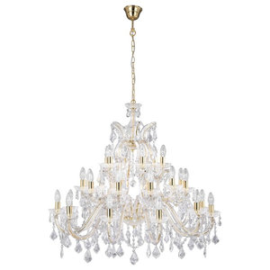 Modern Classical Crystal Chandelier, Polished Brass