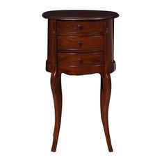 Traditional Round Mahogany Bedside Table, Walnut