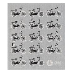 Swedish Dishcloth Mid-Century Modern, Rows of Bikes, Black and White on Gray