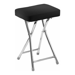 Modern Folding Stool with Faux Leather Cushioned Seat and Chrome Plated Frame