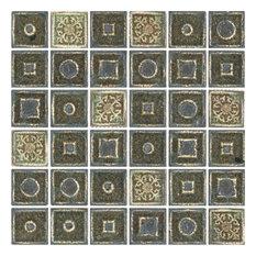 "12.5""x12.5"" Janus Green Mosaic, Set of 10"
