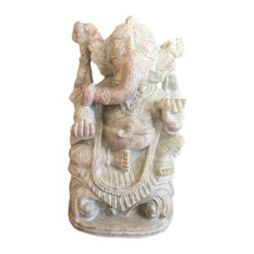 Mogulinterior - Meditation Sculpture Lord Ganesha Gorara Carved Stone Statue - Decorative Objects And Figurines