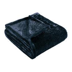 Ultra-Soft Luxury Fleece Blankets, Lightweight Throw, Navy Blue