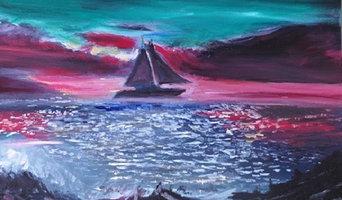 Full Sail Sunset Original Oil Painting