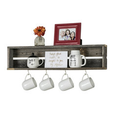 Handcrafted Reclaimed Wood Rustic Coffee Cup Shelf, Natural