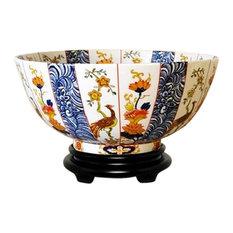 """Chinese Imari Motif Porcelain Bowl With Base 14"""""""