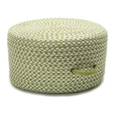 """Houndstooth Pouf Rug, Lime 20""""x20""""x11"""""""