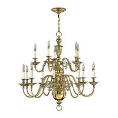 Cambridge Solid Brass Chandelier, 15 Lights
