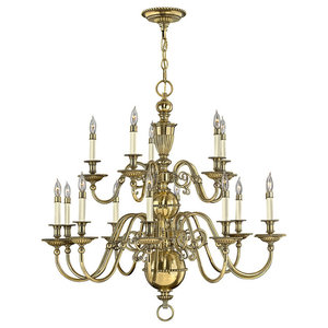 Cambridge Solid Brass Chandelier, 15 Lights