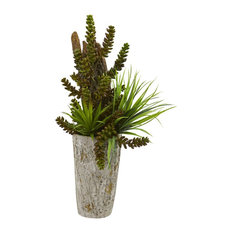 Artificial Plant, Succulent and Grass Garden Plant with Weathered Planter