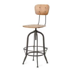 jordan industrial loft wood iron barstool with back bar stools and counter stools