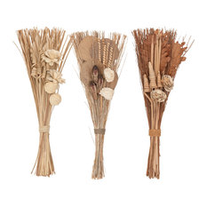 """Set of 3 Natural 30"""" Tall Dried Plant Bouquets"""