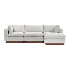 Taylor Plush 4-Piece Modular Chaise Sectional Sofa, Snowfall