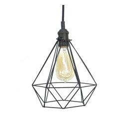 Diamond Cage Pendant Light, Black