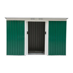 Outsunny 9'x4' Outdoor Metal Garden Storage Shed, Green/White