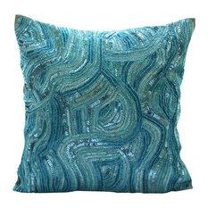 Sequins And Beaded Blue Art Silk 16x16 Decorative Pillow Covers, Aqua Infinity