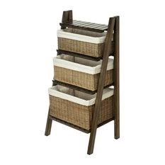 Ladder Shelf with Wicker Baskets